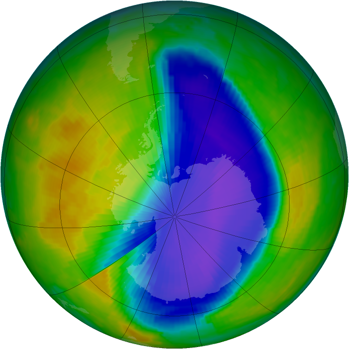 Antarctic ozone map for 19 October 1996