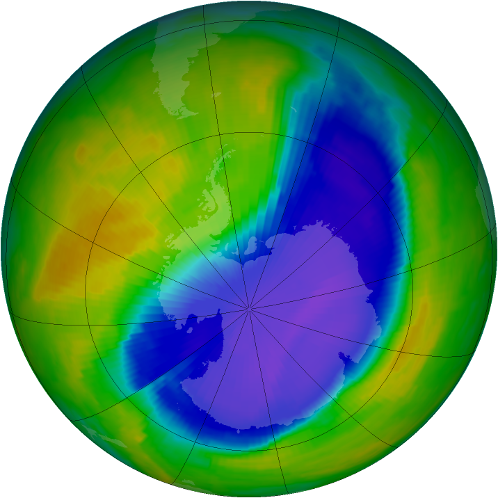 Antarctic ozone map for 20 October 1996