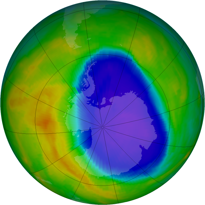 Antarctic ozone map for 24 October 1996