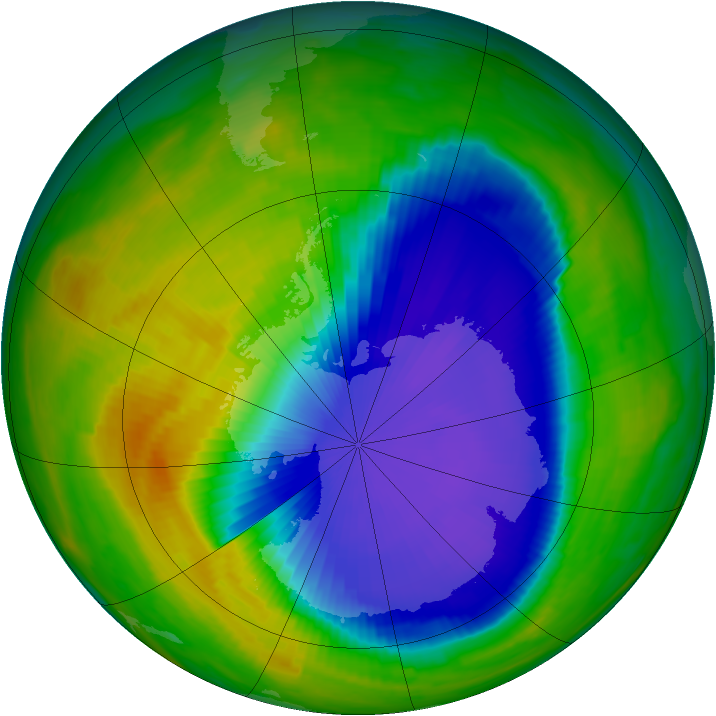 Antarctic ozone map for 25 October 1996