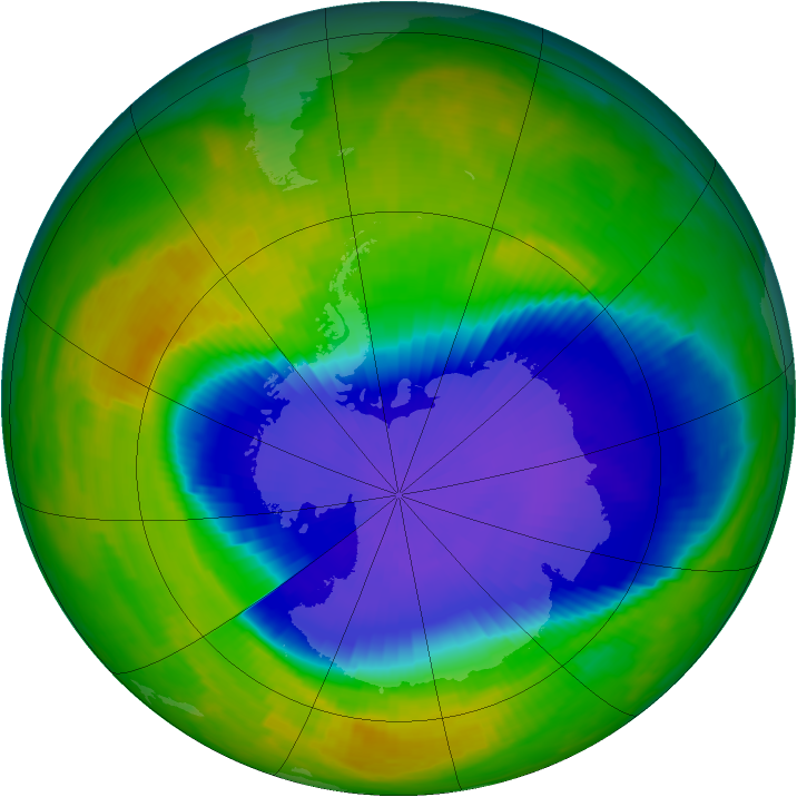 Antarctic ozone map for 28 October 1996