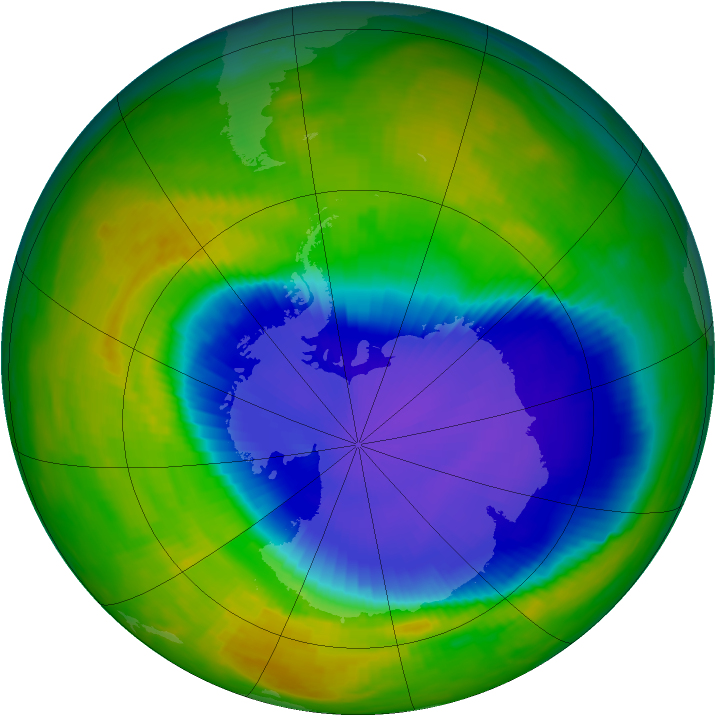 Antarctic ozone map for 29 October 1996