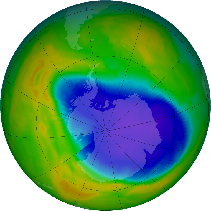 Antarctic ozone map for 30 October 1996