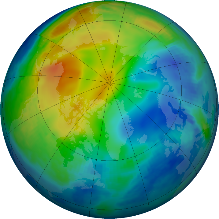 Arctic ozone map for 02 December 1996