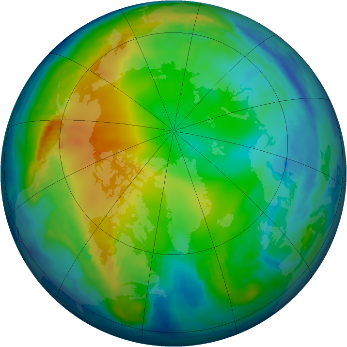 Arctic ozone map for 10 December 1996
