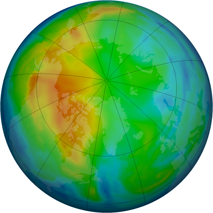 Arctic ozone map for 11 December 1996