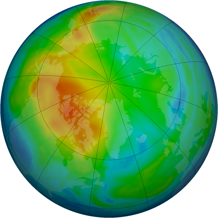 Arctic ozone map for 12 December 1996