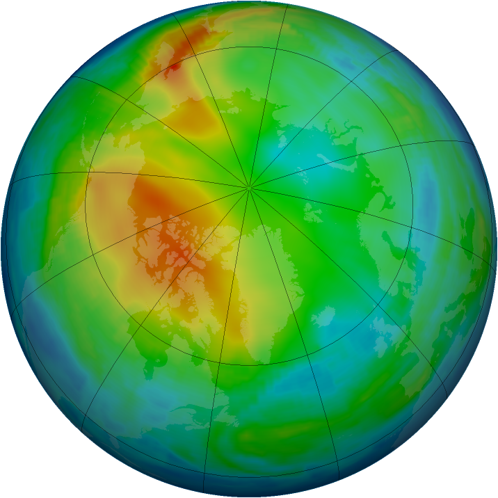 Arctic ozone map for 13 December 1996