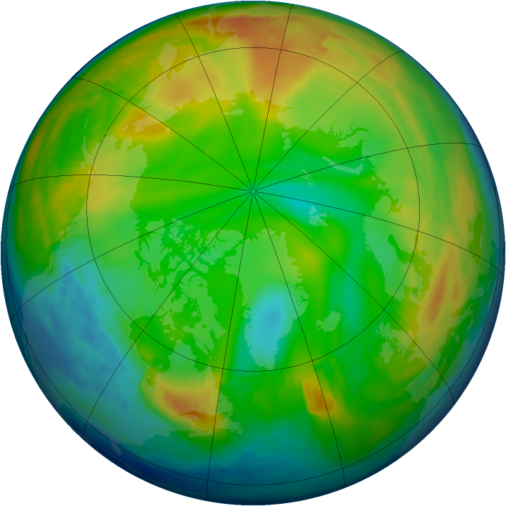 Arctic ozone map for 30 December 1996
