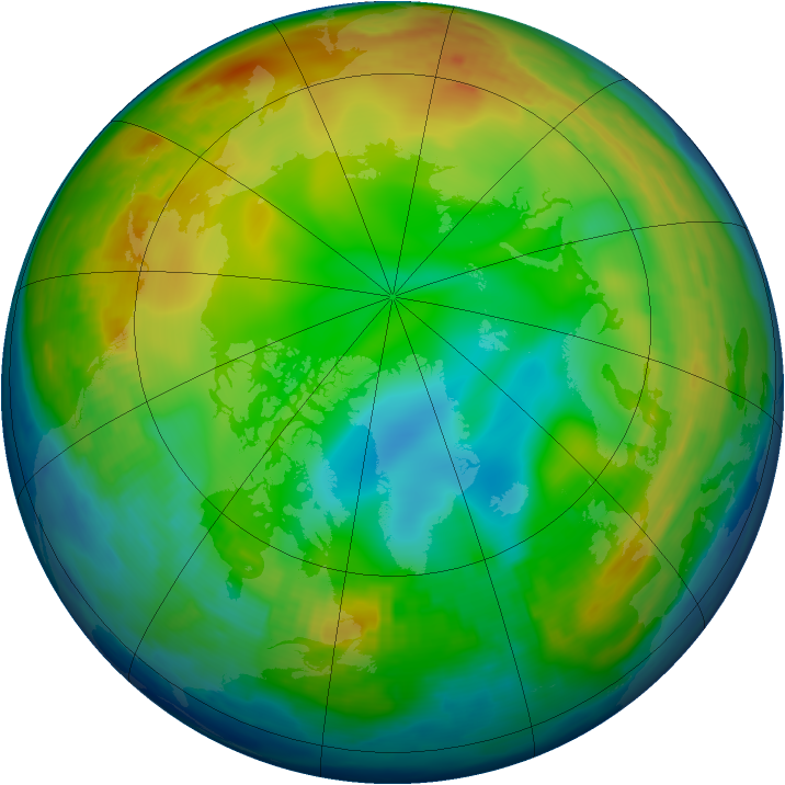 Arctic ozone map for 01 January 1997