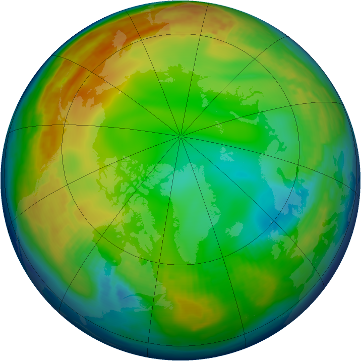 Arctic ozone map for 05 January 1997
