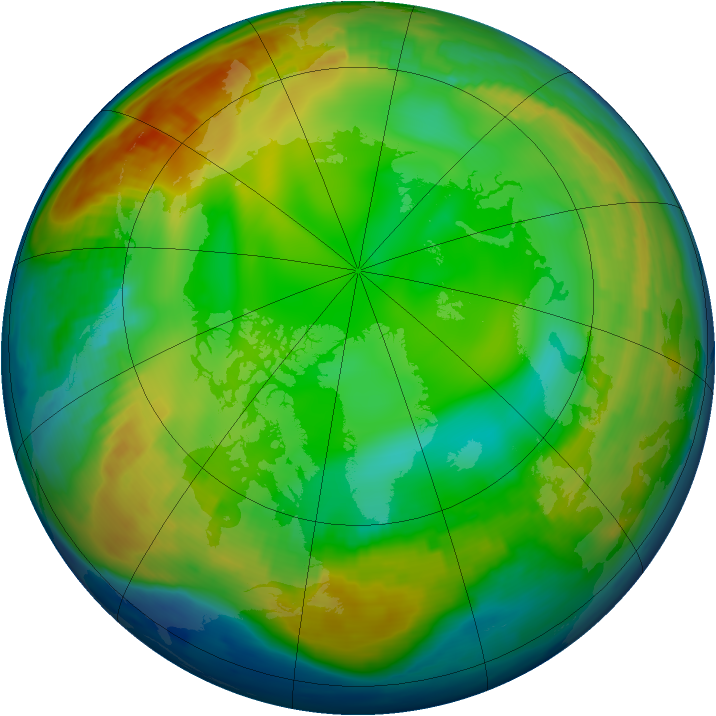 Arctic ozone map for 09 January 1997