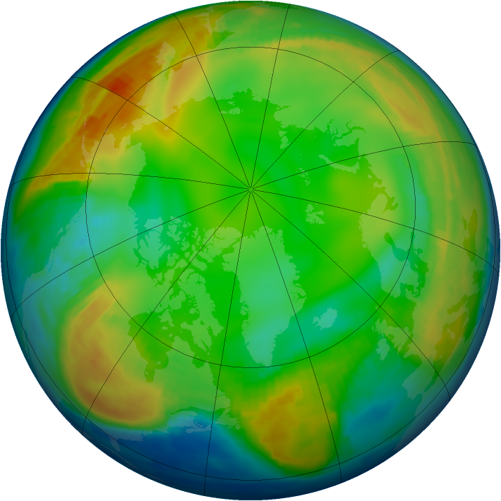 Arctic ozone map for 10 January 1997