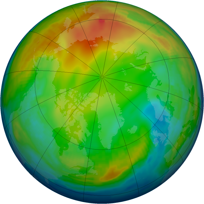 Arctic ozone map for 14 January 1997