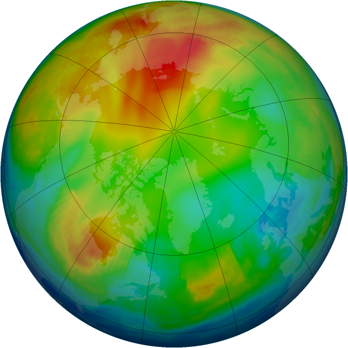 Arctic ozone map for 16 January 1997