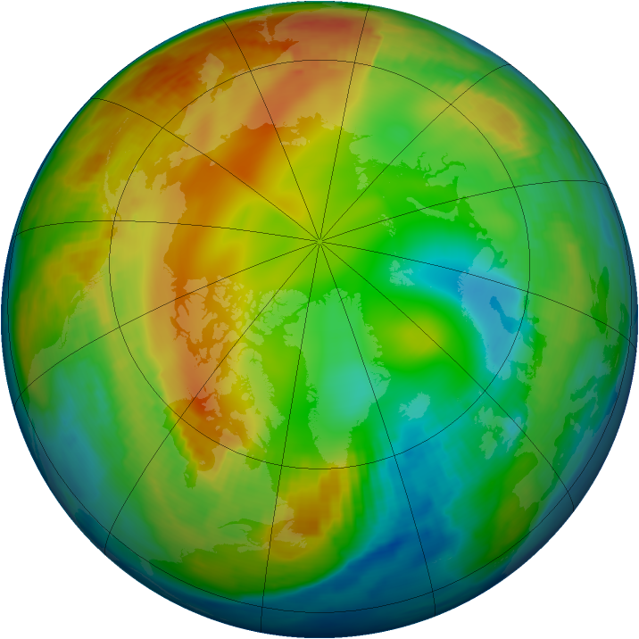 Arctic ozone map for 20 January 1997