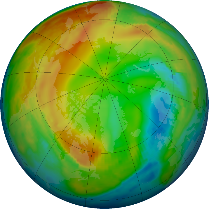 Arctic ozone map for 21 January 1997