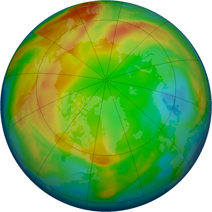 Arctic ozone map for 22 January 1997