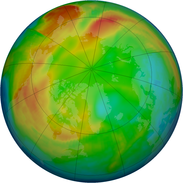 Arctic ozone map for 23 January 1997