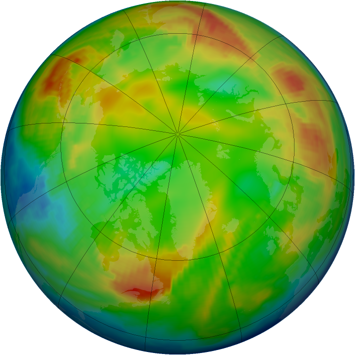 Arctic ozone map for 29 January 1997