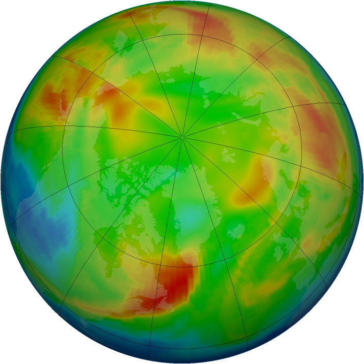 Arctic ozone map for 30 January 1997