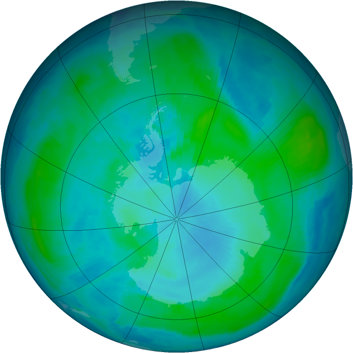 Antarctic ozone map for 11 February 1997