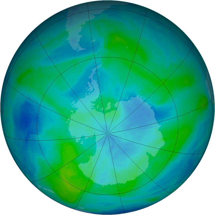 Antarctic ozone map for 26 February 1997