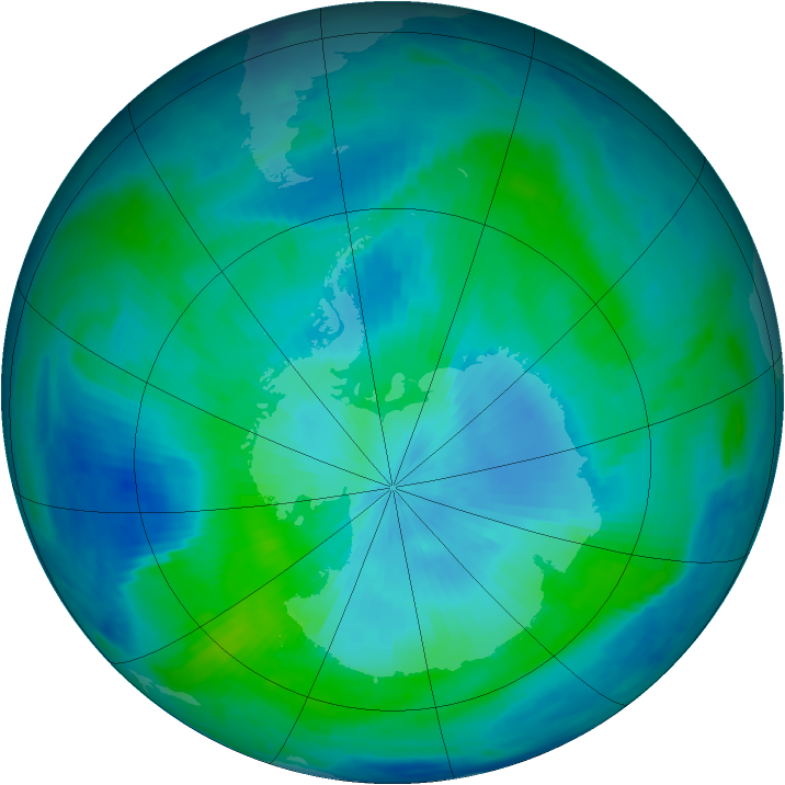 Antarctic ozone map for 27 February 1997