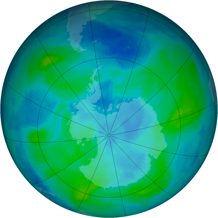 Antarctic ozone map for 04 March 1997