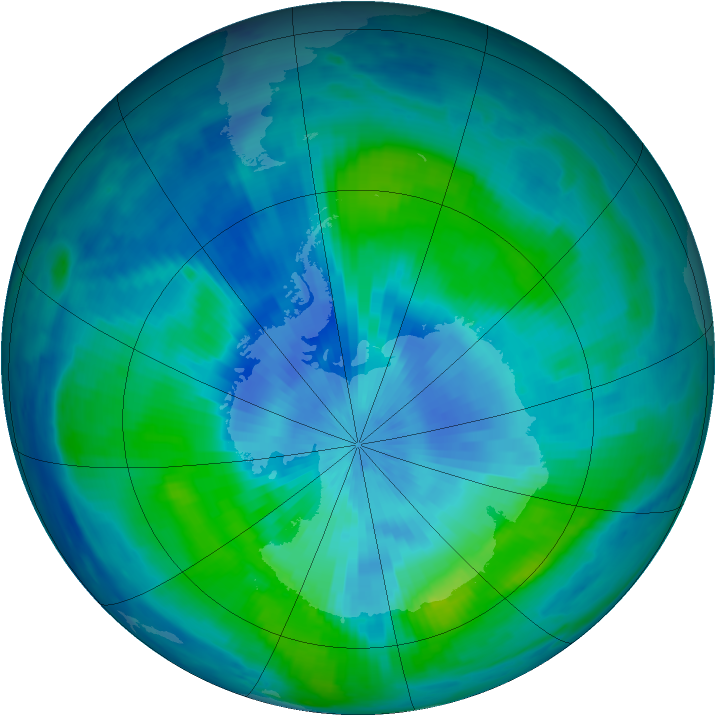 Antarctic ozone map for 12 March 1997