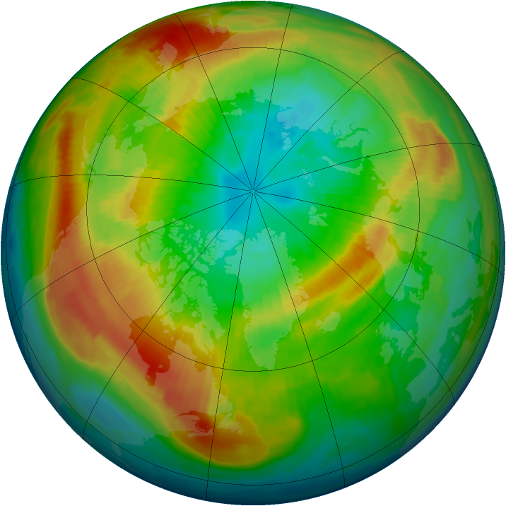 Arctic ozone map for 13 March 1997