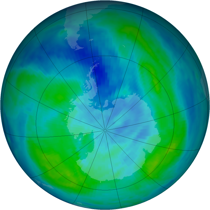 Antarctic ozone map for 16 March 1997