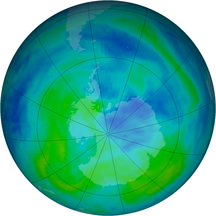 Antarctic ozone map for 19 March 1997