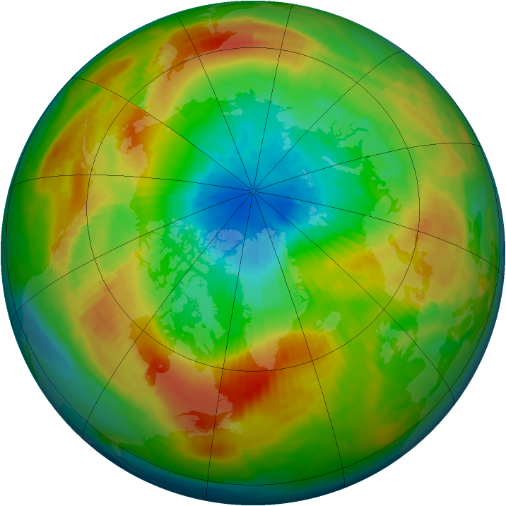 Arctic ozone map for 21 March 1997