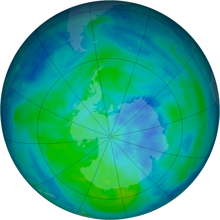 Antarctic ozone map for 23 March 1997