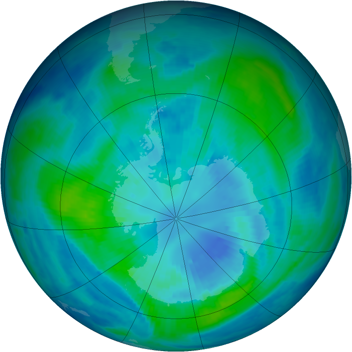 Antarctic ozone map for 02 April 1997