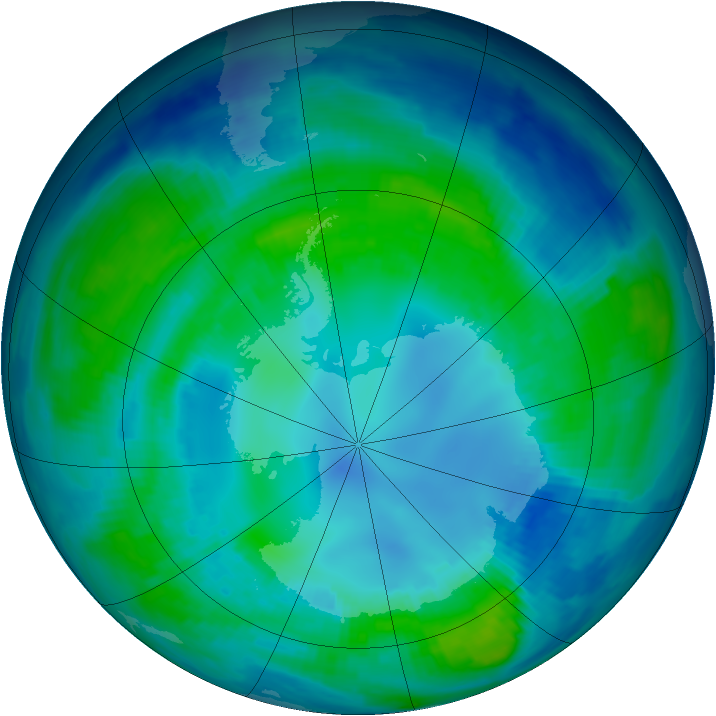 Antarctic ozone map for 27 April 1997