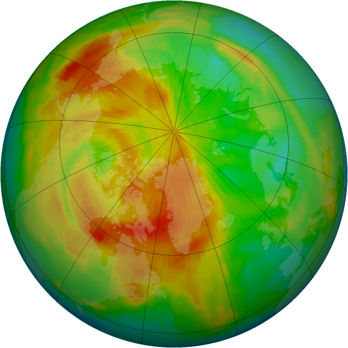 Arctic ozone map for 29 April 1997