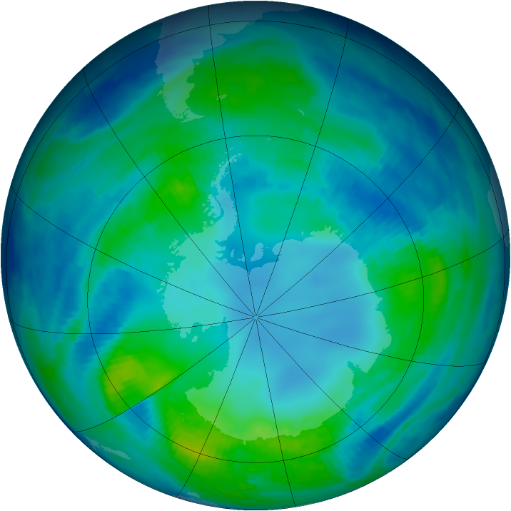Antarctic ozone map for 02 May 1997