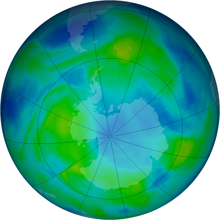 Antarctic ozone map for 04 May 1997