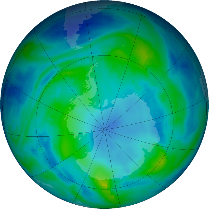 Antarctic ozone map for 05 May 1997