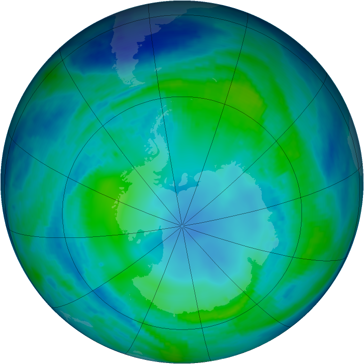 Antarctic ozone map for 06 May 1997