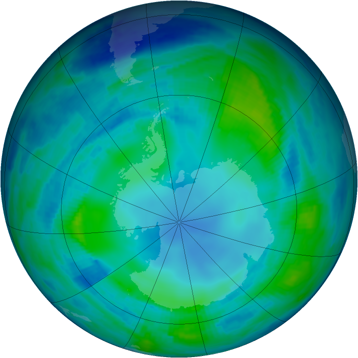 Antarctic ozone map for 07 May 1997