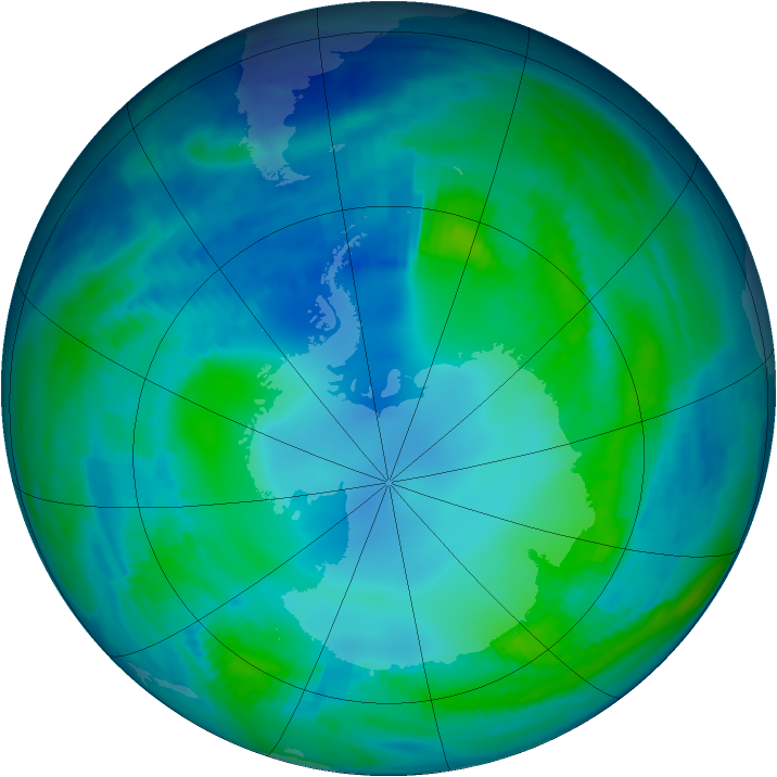 Antarctic ozone map for 09 May 1997