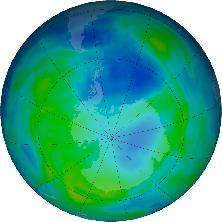 Antarctic ozone map for 12 May 1997