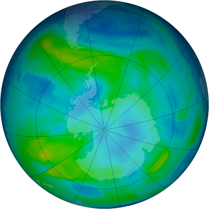 Antarctic ozone map for 16 May 1997