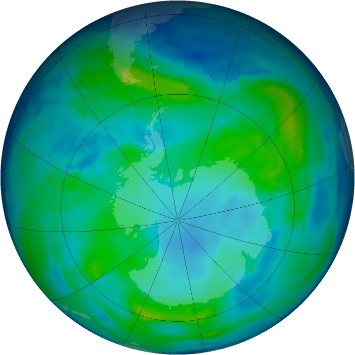 Antarctic ozone map for 18 May 1997