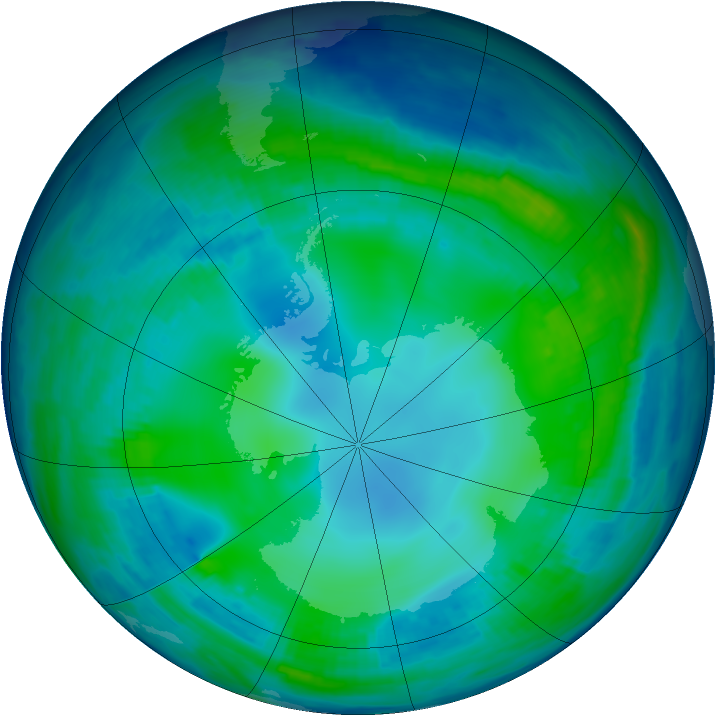 Antarctic ozone map for 19 May 1997