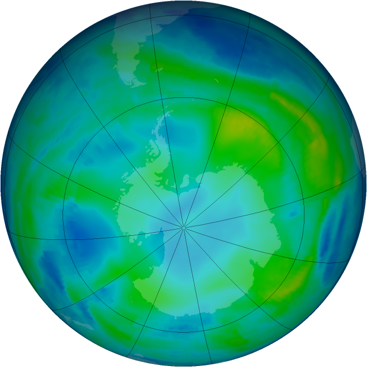Antarctic ozone map for 20 May 1997