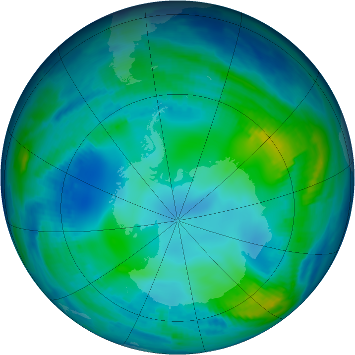 Antarctic ozone map for 21 May 1997